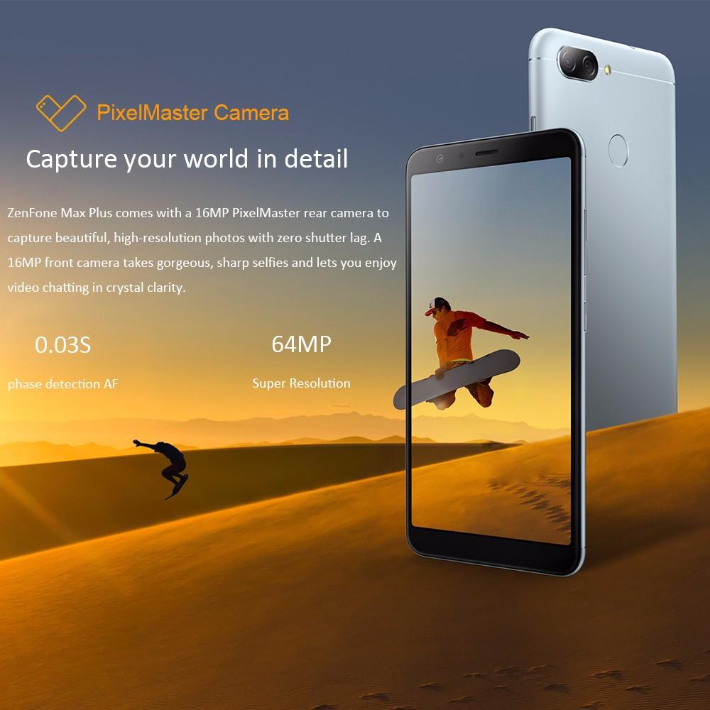 ASUS Zenfone Max Plus(ASUS_X018D/ZB570TL) 4+64GB US+UK adapter Silver Global Version- Silver US Plug (2-pin)
