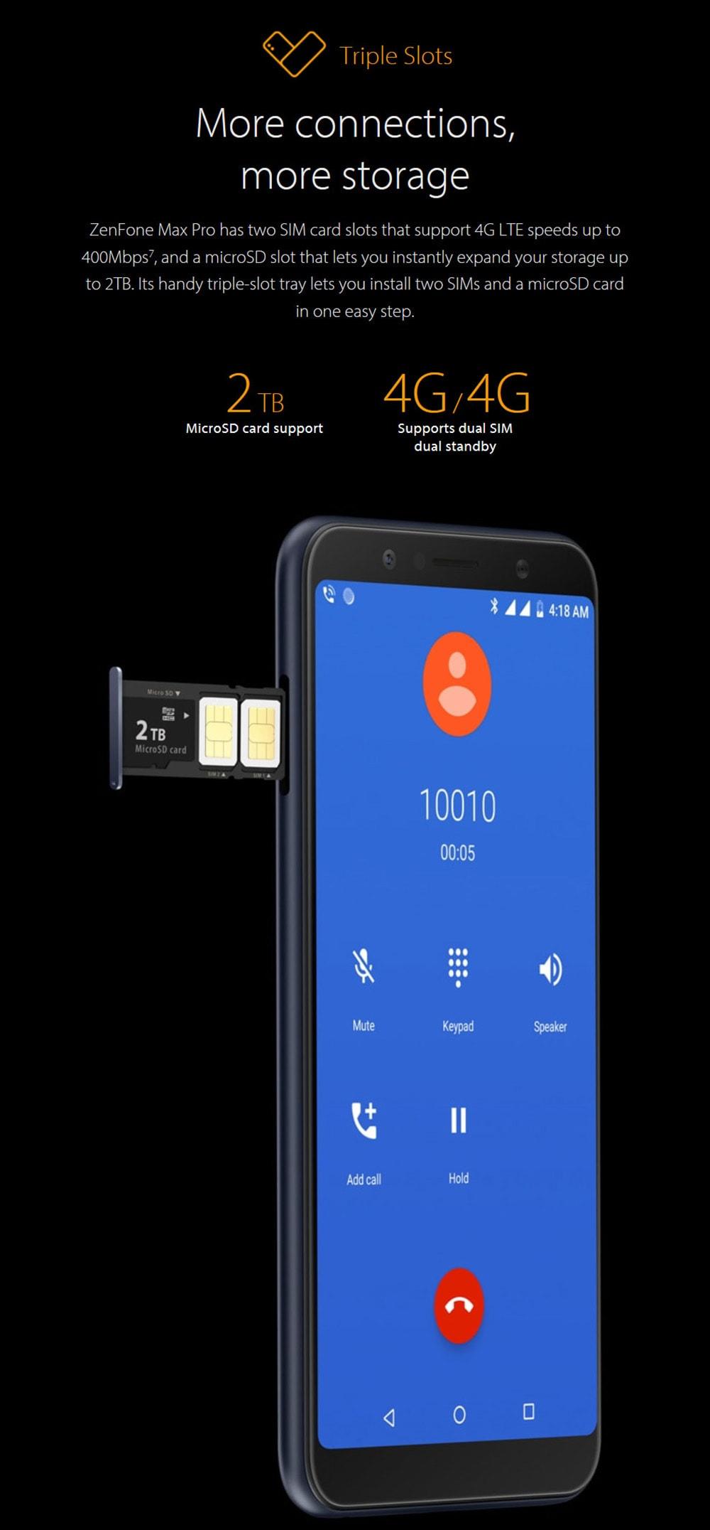 ASUS ZenFone Max Pro ( M1 ) 4G Phablet 6.0 inch Android 8.1 Oreo Snapdragon 636 Octa Core 1.8GHz 3GB RAM 32GB ROM 16.0MP + 5.0MP Rear Camera Fingerprint Sensor 5000mAh Built-in- Silver