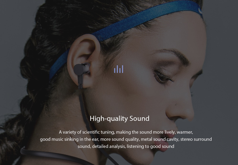 Awei G10BL Stereo Bluetooth Sports Earphones Neckband Wireless Magnetic Absorption Earbuds- Black