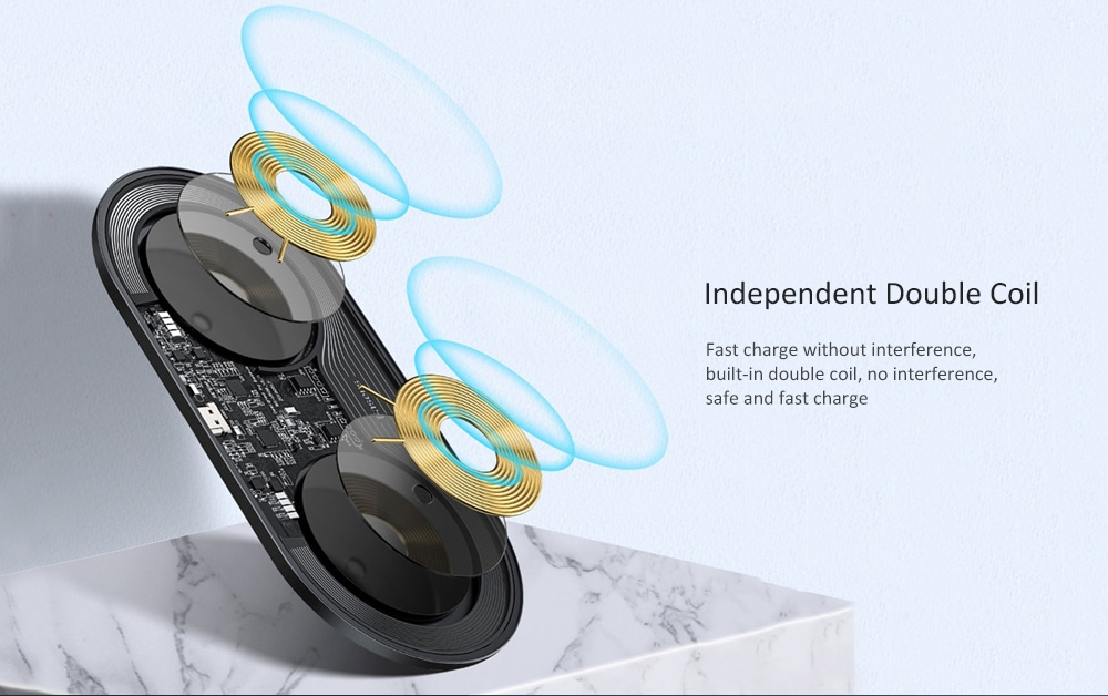 Baseus Intelligent 2 in 1 gyors töltésű vezeték nélküli töltő - Éjszaka