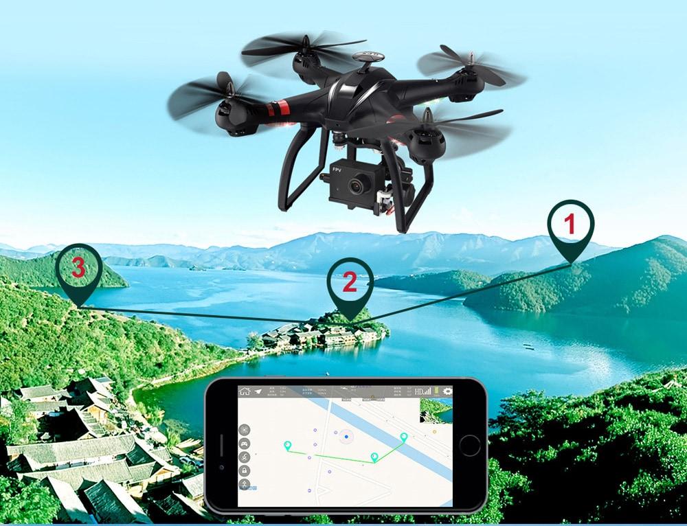 BAYANGTOYS X22 1080P WiFi FPV RC Drone GPS helymeghatározás / 3 tengelyes Gimbal / kefe nélküli motor / magasságtartó - fekete, 3 tengelyes Gimbal