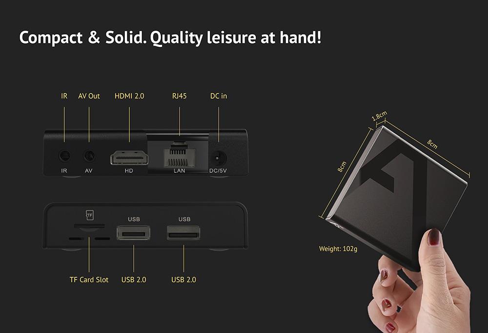 Bilikay A968 Android 9.0 / Amlogic S905W / Négymagos / 2 GB RAM + 16 ROM / H.265 Mini TV-doboz - Fekete EU-csatlakozó