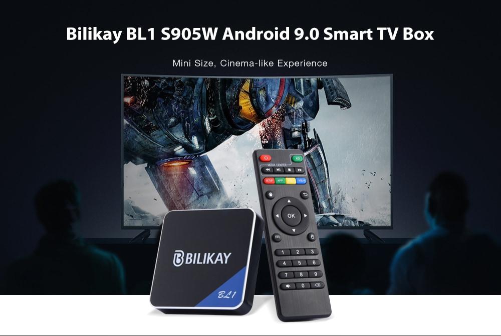BL1 S905W Android 9.0 intelligens TV-doboz - fekete EU-csatlakozó