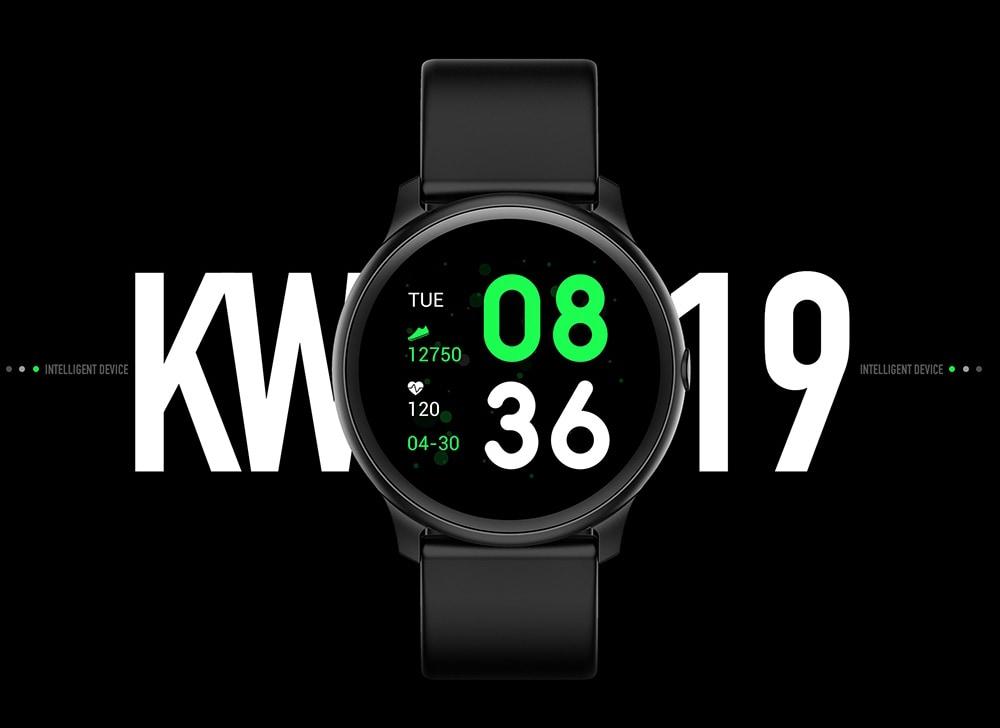 Bilikay KW19 intelligens karkötő 1,3 hüvelykes TFT HD képernyő IP67 vízálló Bluetooth 4.0 pulzusszám vérnyomásmérő - fekete