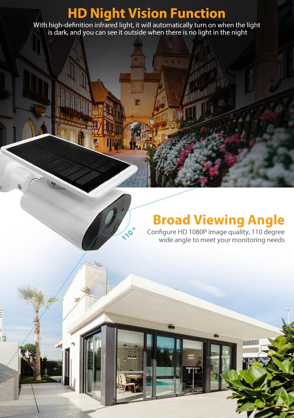 Bilikay L4 Plus Solar 1080P kültéri vízálló fényképezőgép - tejfehér