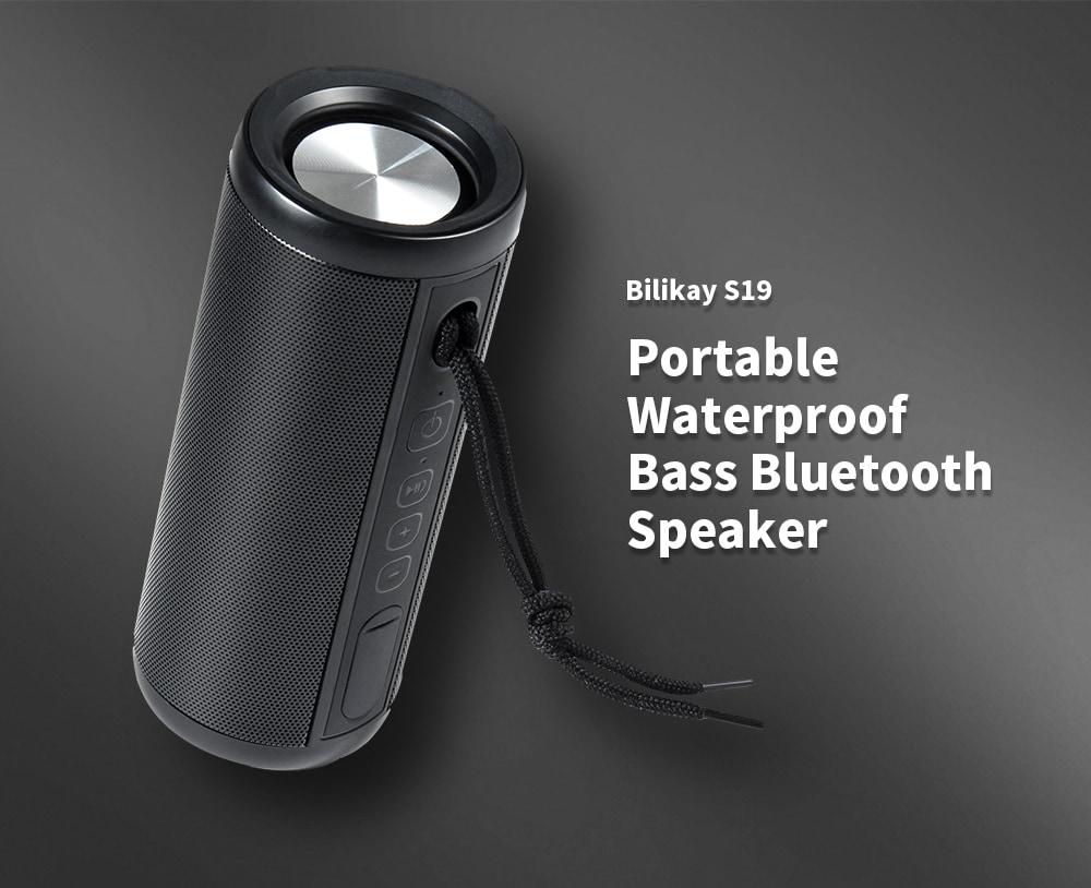 Bilikay S19 Surround Sound Effect / Kihangosító kommunikáció Hordozható, vízálló mélyhangú Bluetooth hangszóró - fekete