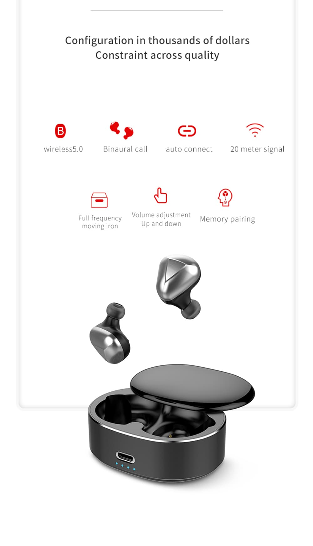 Bilikay T50 TWS Wireless Mini Earbuds Bluetooth 5.0 Stereo Bilateral Earphones with Portable Charging Dock- Milk White