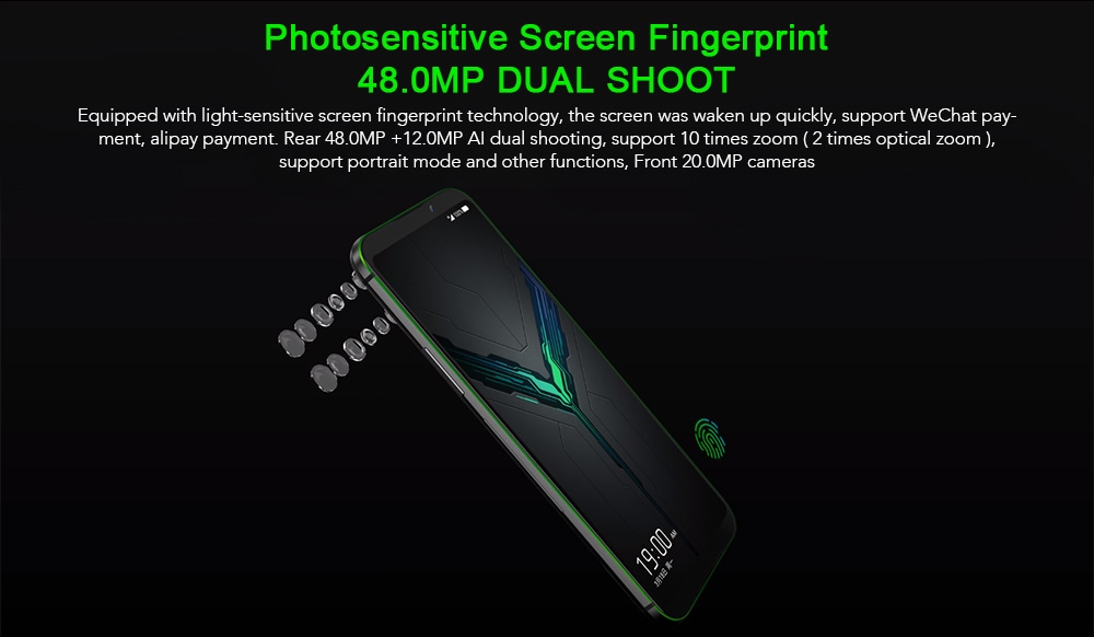 BLACK SHARK 2 4G Gaming Phablet 6.39 inch  Android 8.0 Qualcomm Snapdragon 855 Octa Core 2.84GHz 12GB RAM 256GB ROM 48.0MP + 12.0MP Rear Camera Fingerprint Sensor 4000mAh Built-in- Silver