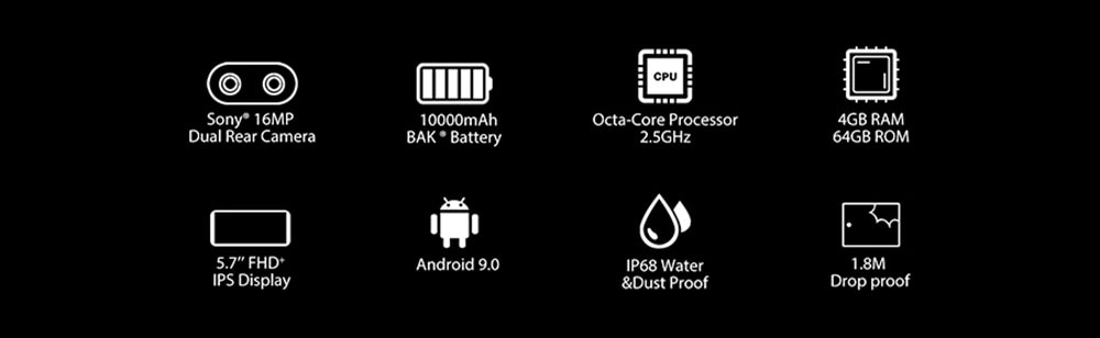 BlackView BV9500 Plus 4G okostelefon globális verzió - sárga egyéb terület