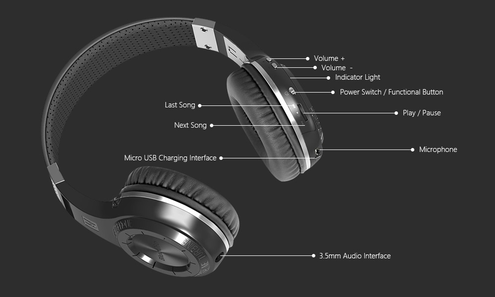 Bluedio HT vezeték nélküli Bluetooth headset fülhallgató Super basszus zene fejhallgató mikrofonnal Line-in csatlakozó az okostelefonokhoz Számítógép Tablet PC-fehér