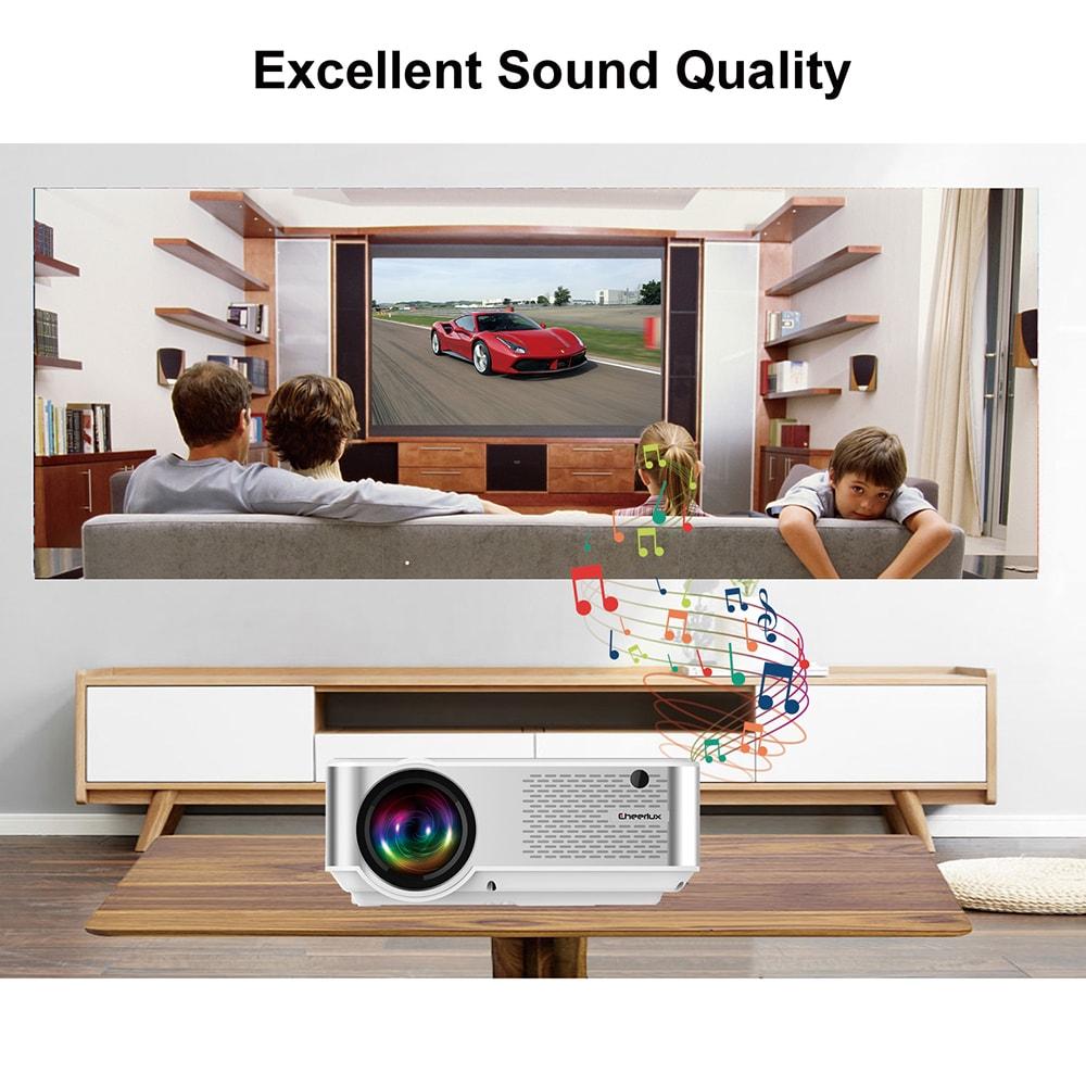 Cheerlux C9 LCD projektor Otthoni szórakoztatás Kereskedelmi 1280 x 720P támogatás 1080P / HDMI + USB + VGA + AV- Fehér EU csatlakozó
