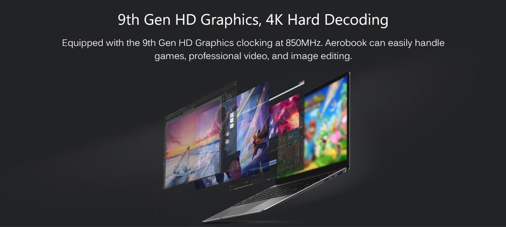 CHUWI AeroBook 13,3 hüvelykes laptop Windows 10 operációs rendszer Intel m3 - 6Y30 Dual Core CPU 8GB RAM 256G SSD 2.0MP kamera - szürke US dugó (2 pólusú)