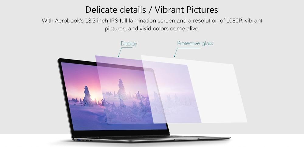CHUWI AeroBook 13,3 hüvelykes laptop Windows 10 operációs rendszer Intel m3 - 6Y30 Dual Core 2.2GHz 8GB RAM 256G SSD 2.0MP kamera - szürke