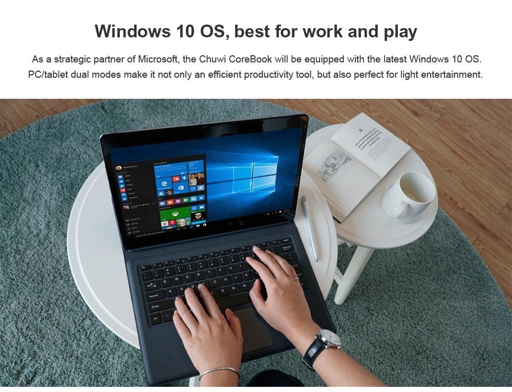 Chuwi CoreBook CWI542 2 in 1 Tablet PC billentyűzettel 13,3 hüvelykes Windows 10 Otthoni verzió Intel Core m3-7Y30 Dual Core 2,4 GHz-es 8 GB-os RAM 128 GB-os SSD ROM kettős WiFi kettős kamerák C-típusú sötétkék