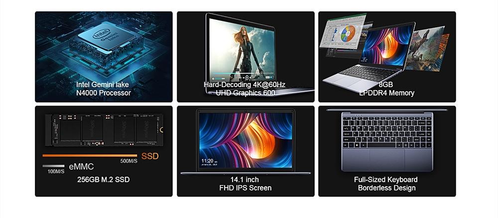 CHUWI HeroBook Pro 14.1 inch Laptop 8GB LPDDR4 RAM 256GB SSD Notebook- Gray EU Plug