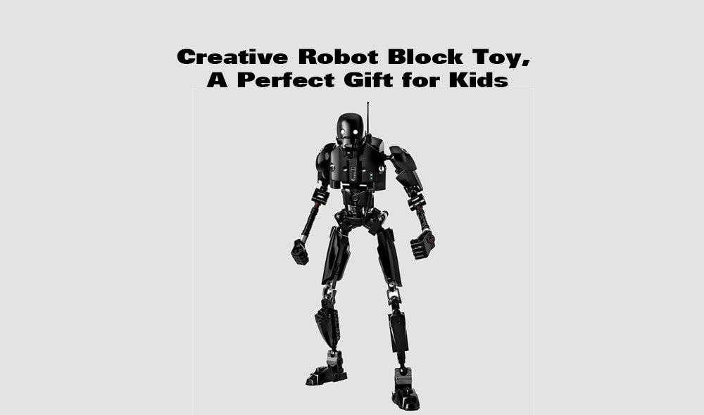 Creative Black Robot Block Toy-fekete