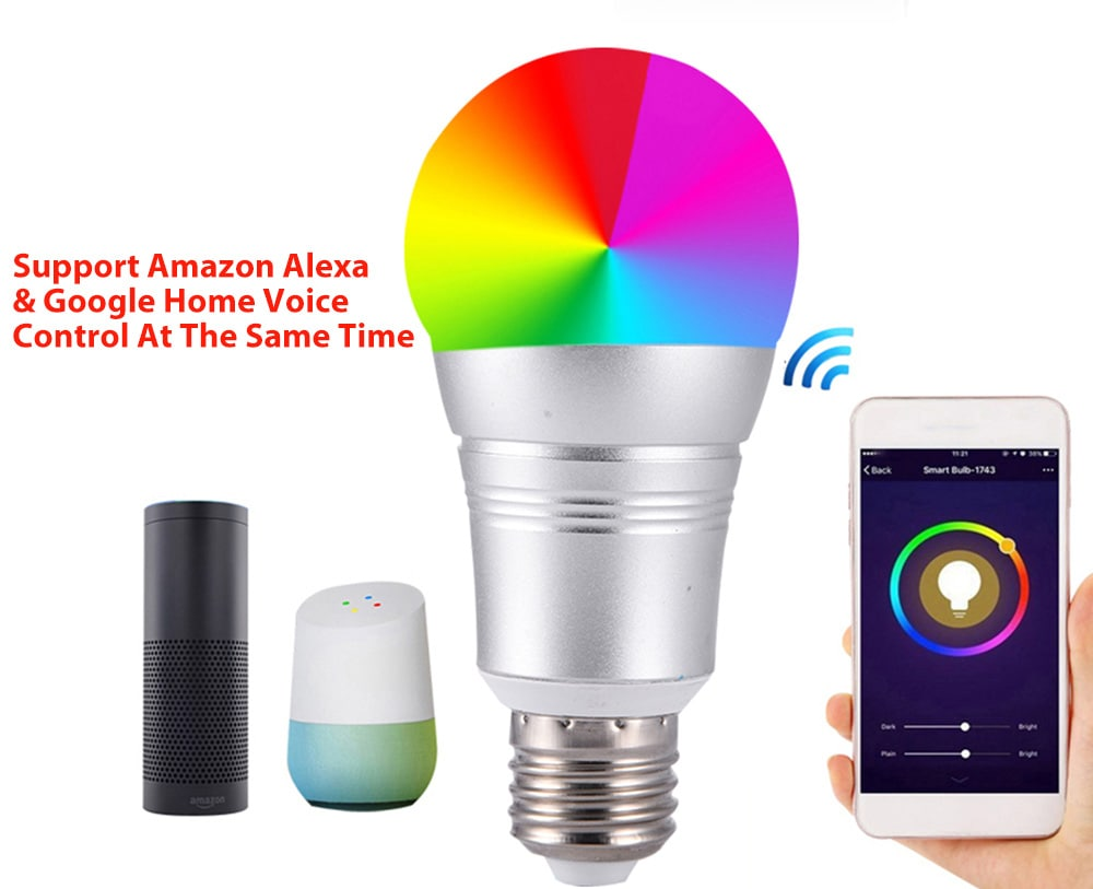 Kreatív vezeték nélküli távirányító Smart WiFi izzó támogatja a Google kezdőlapját / Amazon Echo- Silver