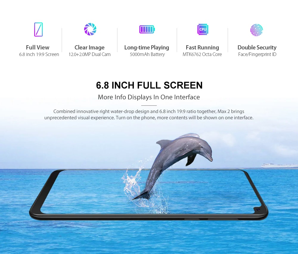 CUBOT MAX 2 4G Phablet 6.8 inch Android 9 Pie MT6762 Octa Core 2.0GHz 4GB RAM 64GB ROM 8.0MP Front Camera Fingerprint Sensor 5000mAh Built-in    - Twilight EU Plug