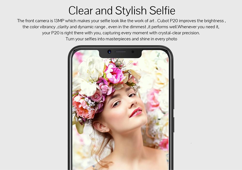 CUBOT P20 4G Phablet 6.18 hüvelykes Android 8.0 MTK6750T Octa Core 1.5GHz 4GB RAM 64GB ROM 20.0MP + 2.0MP kettős hátsó kamera Ujjlenyomat-leolvasó Dual SIM-kártyák Kettős készenlét - Farmer sötétkék