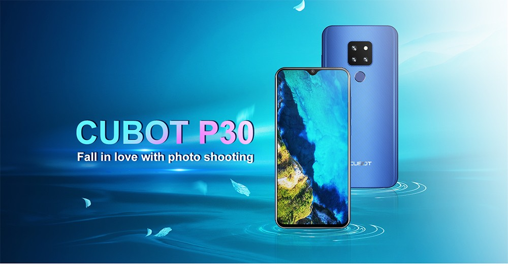 CUBOT P30 4G Phablet 6.3 inch Android 9.0 Helio P23 Octa Core 4GB RAM 64GB ROM 12.0MP + 20.0MP + 8.0MP Rear Camera 4000mAh Battery Face ID Fingerprint Recognition- Black