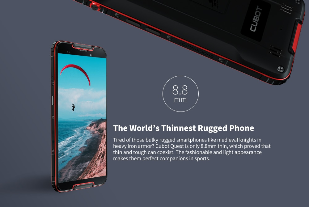 CUBOT QUEST 4G Phablet 5.5 inch Android 9.0 MT6762 Octa Core 2.0GHz IMG GE8320 4GB RAM 64GB ROM 3 Camera Fingerprint Sensor Built-in 4000mAh Battery- Black
