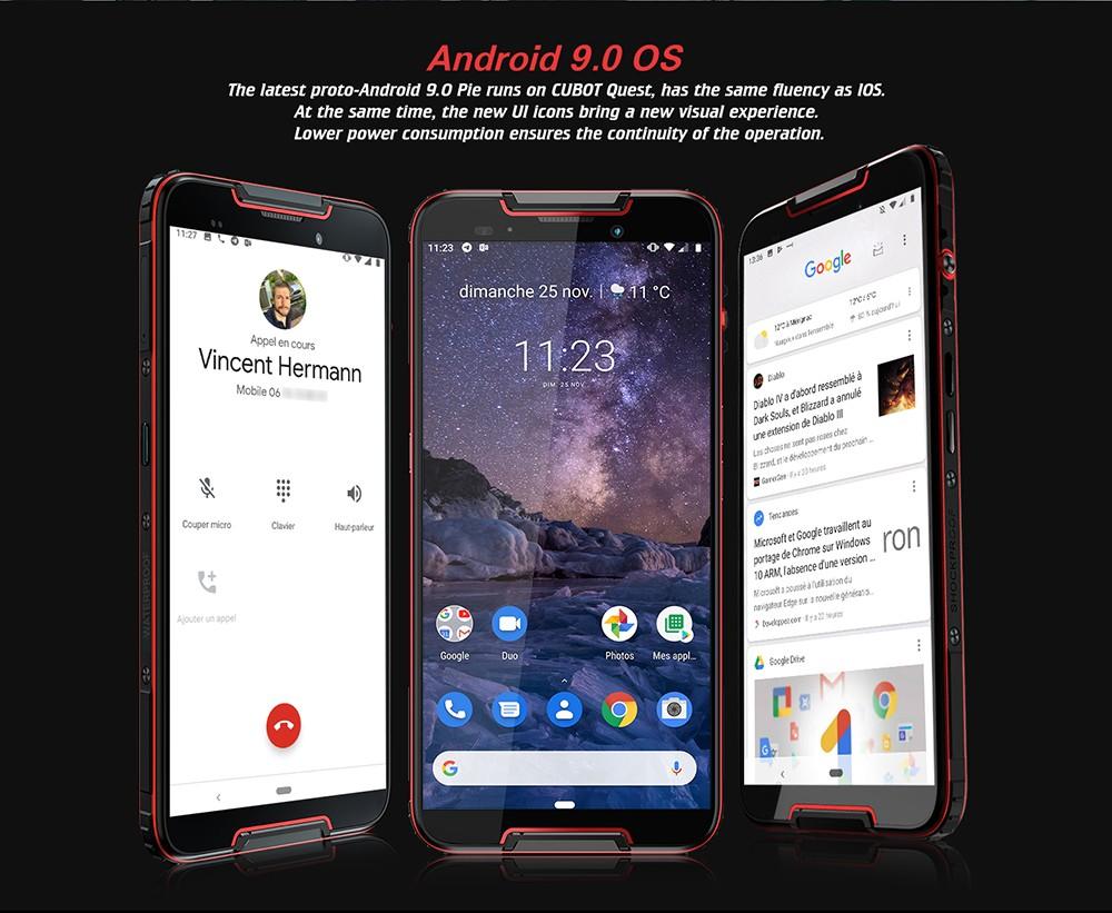 CUBOT QUEST 4G Phablet 5.5 inch Android9.0 MT6762 Octa Core 2.0GHz IMG GE8320 4GB RAM 64GB ROM 3 Camera Fingerprint Sensor Built-in 4000mAh Battery - Black