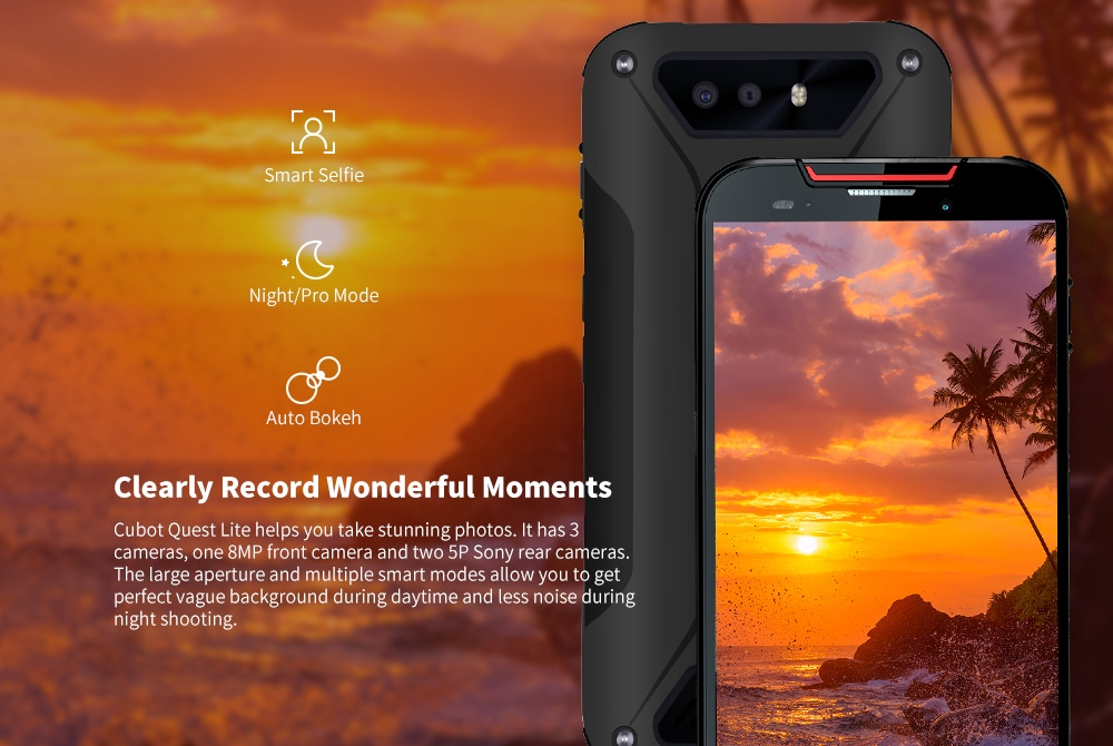CUBOT QUEST Lite 4G Phablet 5.0 inch Android 9.0 MT6761 Quad Core 2.0GHz 3GB RAM 32GB ROM Triple Camera Fingerprint Face ID Built-in 3000mAh Battery- Black
