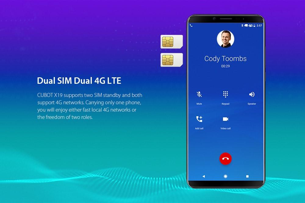 CUBOT X19 4G Phablet 5.93 inch Android 8.1 MT6763T ( Helio P23 ) Octa-Core 2.5GHz 64-bit 4GB RAM 64GB ROM 16.0MP + 2.0MP Rear Camera Fingerprint Sensor 4000mAh Built-in- Black EU Plug