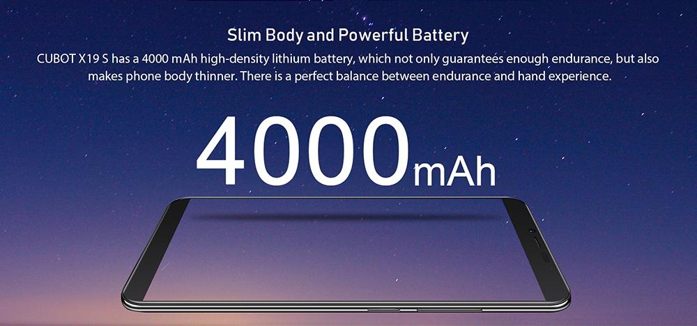 Cubot X19 S 4G Phablet 4GB RAM 32GB ROM- Black