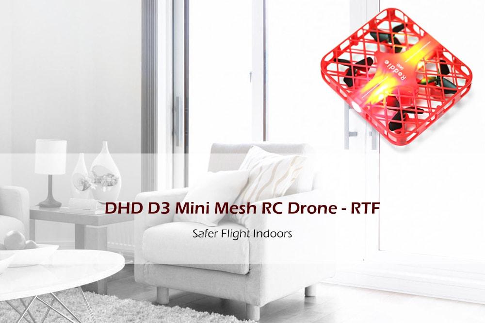 DHD D3 Mini Mesh RC Quadcopter RTF 2.4GHz 4CH 6 tengelyes giroszkóp / Egy gomb visszatérés / Fej nélküli üzemmód - piros