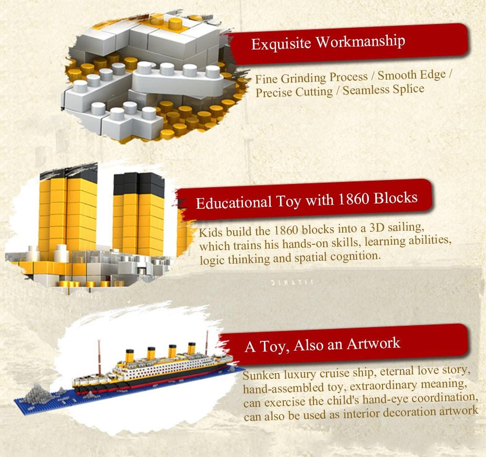 DIY Titanic alakzatblokk játékok gyerekeknek - Multi