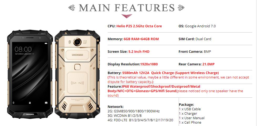DOOGEE S60 5.2 inch FHD IP68 Waterpoof Dustproof NFC 5580mAh 6GB RAM 64GB ROM Helio P25 Octa Core 4G Smartphone