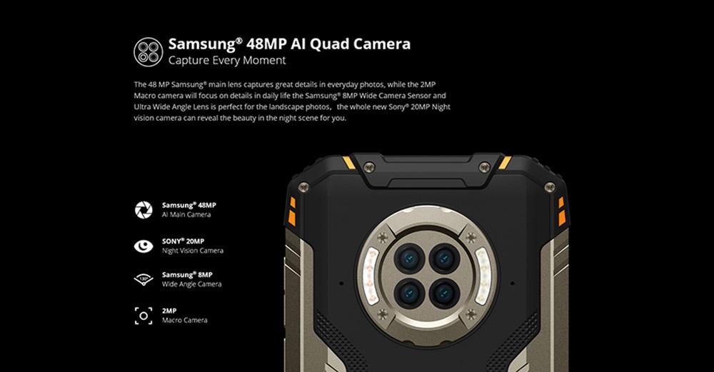 DOOGEE S96 Pro okostelefon IP68 IP69K 8 GB-os 128 GB-os Helio G90 NFC Android 10 6350mAh 6,22 hüvelykes 48MP-es kerek négykamera 20MP-es infravörös éjszakai látás 4G okostelefon - fekete EU verzió