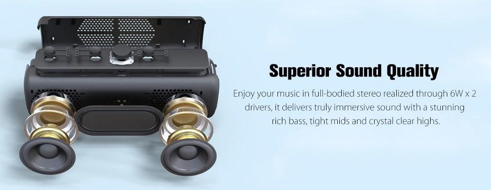 DOSS E - Go II Portable Wireless Bluetooth Speaker Enhanced Bass Stereo Soundbox Waterproof Music Player with Mic - Dark Gray