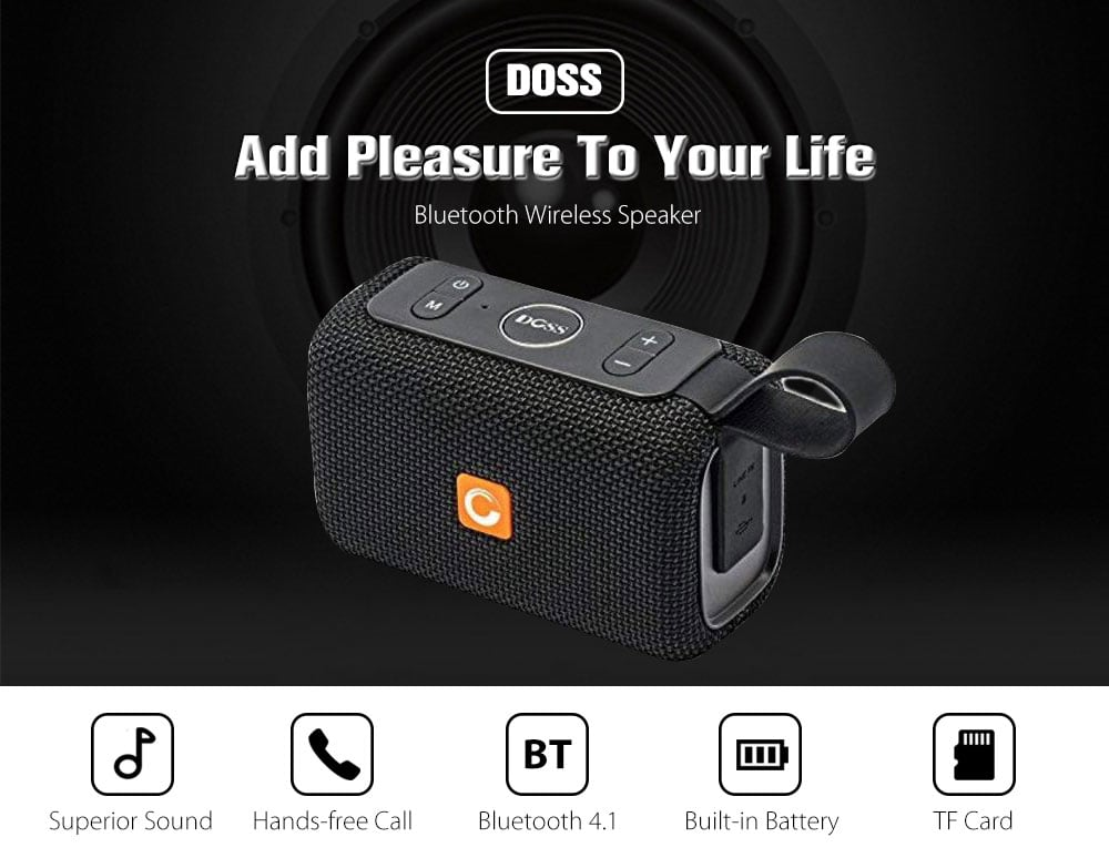 DOSS E - Go Portable Bluetooth Speaker IPX6 WaterProof Soundbox Wireless Music Player with Mic- Gray Goose