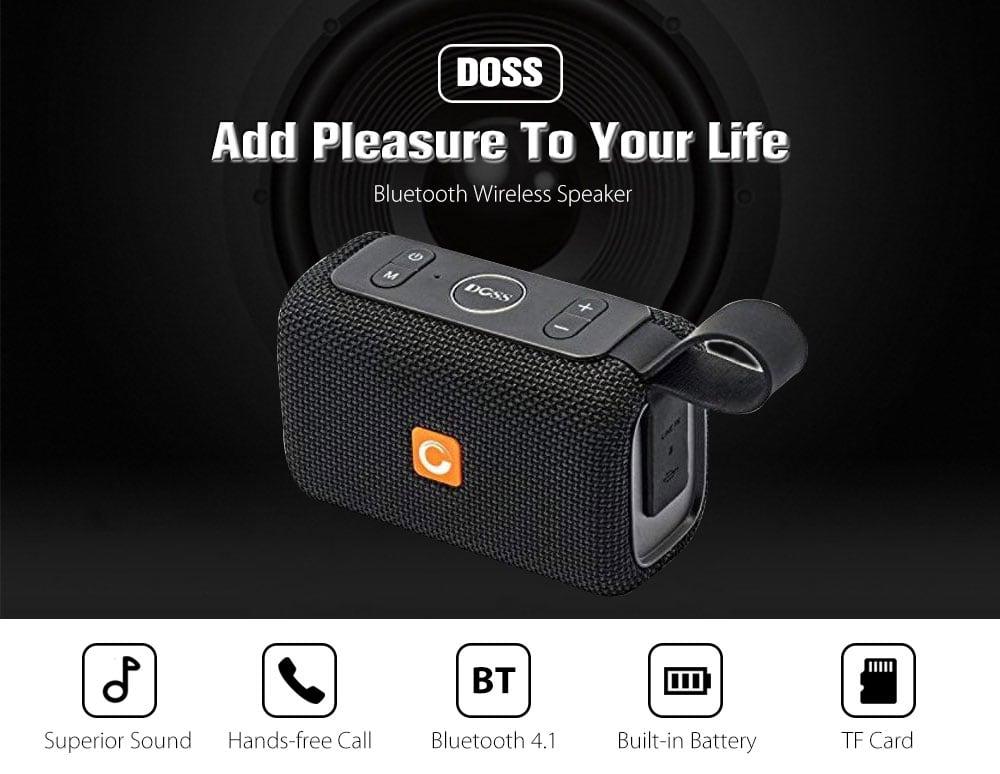 DOSS E - Go Portable Bluetooth Speaker IPX6 WaterProof Soundbox Wireless Music Player with Mic- Sunrise Orange