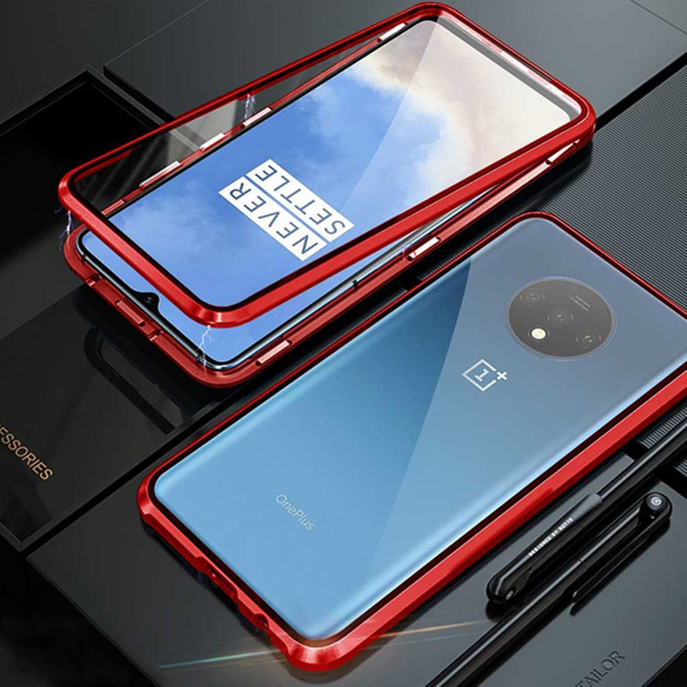 Double Sided Glass Metal Magnetic Phone Case for OnePlus 7T- Red