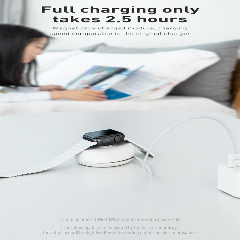 Durable Baseus Yo-Yo Wireless Charger with 1 M USB Cable for IWatch Charger- Milk White 1M