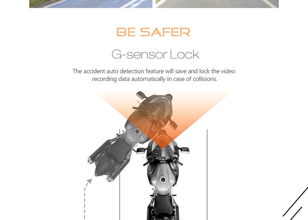DV168 Dash Cam 2,7 hüvelykes G-érzékelő Dual Camera Loop felvétel motorkerékpár-felvevő-fekete