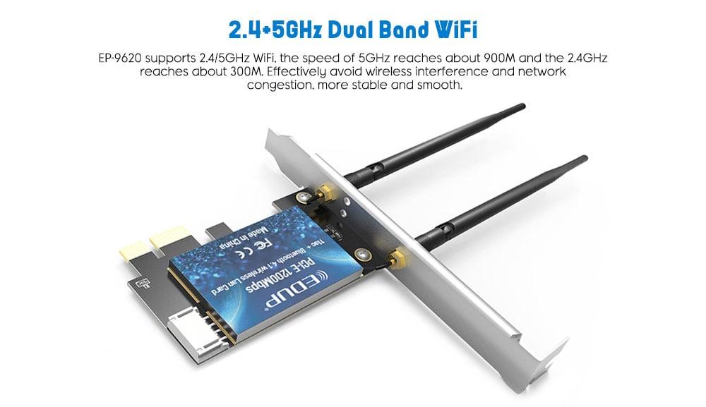 EDUP EP - 9620 1200M PCI-E két sávos vezeték nélküli hálózati adapter WiFi Bluetooth 2 in 1 bővítő kártya - selyemkék