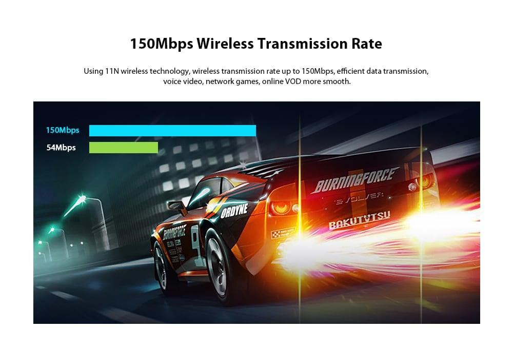 EDUP N8566 150Mbps Átviteli / Illesztőprogram Ingyenes részlet / Széles kompatibilitás USB vezeték nélküli hálózati kártya - Lemon Chiffon