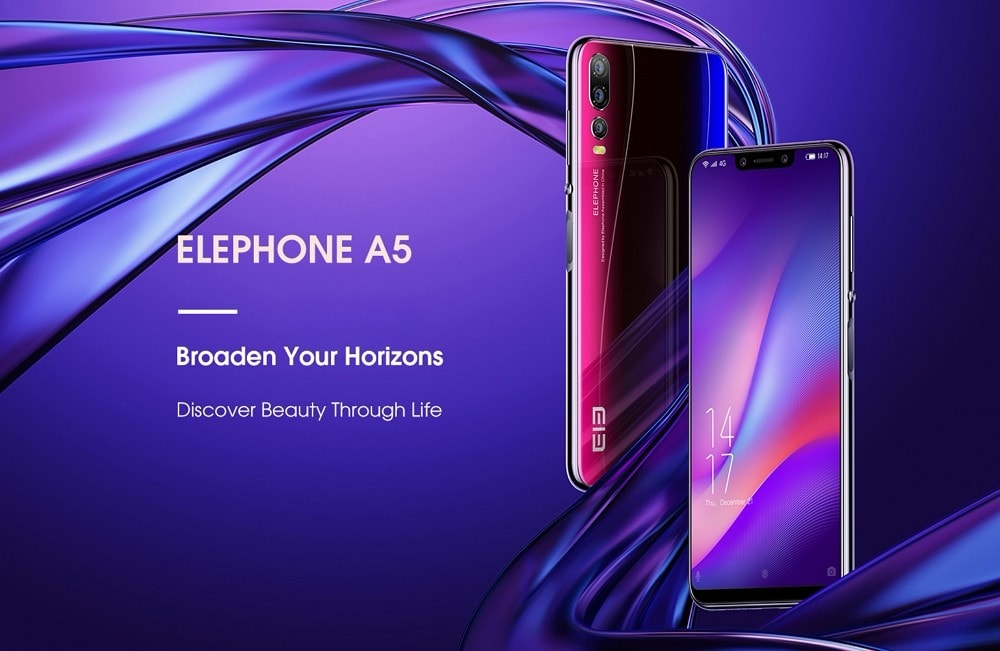 Elephone A5 4G Phablet 6.18 inch Android 8.1 MT6771 Octa Core 2.0GHz 5 Cameras 6GB RAM 128GB ROM Sise Fingerprint 4000mAh Built-in - Twilight