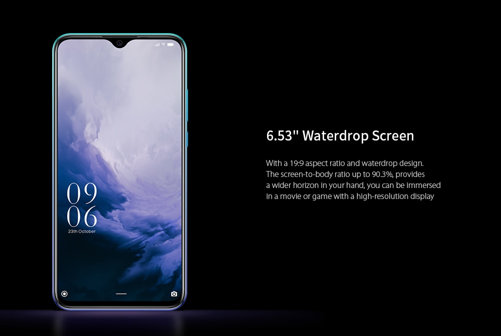 Elephone A6 MAX 4G Phablet 6.53 inch Android 9.0 Helio P22 Octa Core 4GB RAM 64GB ROM 20.0MP + 2.0MP Rear Camera 3500mAh Battery NFC Wireless Charging OTG- Black