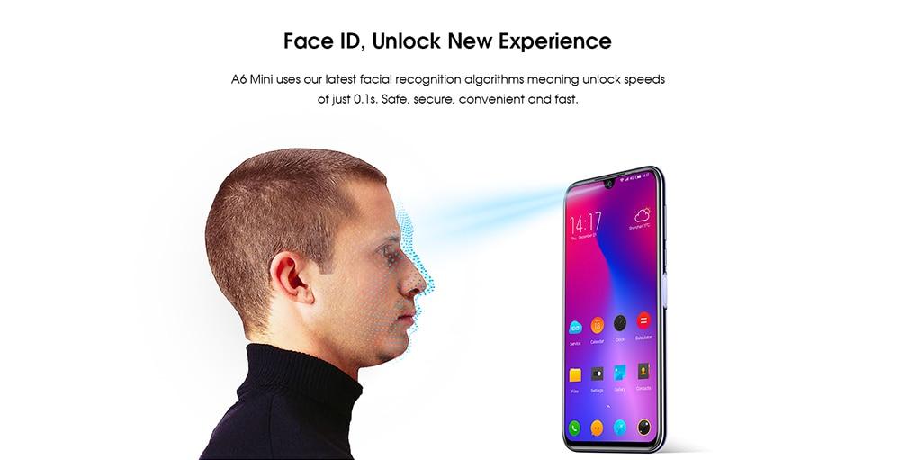 Elephone A6 Mini 4G Phablet 5.71 inch Android 9.0 MT6761 Quad Core 2.0GHz 4GB RAM 32GB ROM 3 Cameras Side Fingerprint Sensor 3180mAh Built-in- Black EU Plug