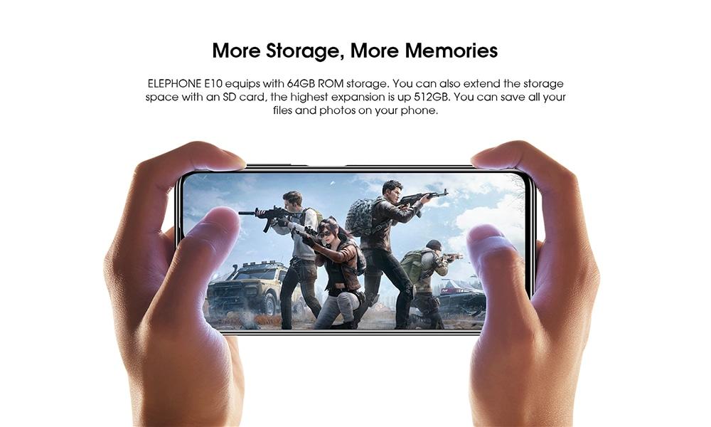 ELEPHONE E10 4G Smartphone Global Version MT6762D Octa-core 4GB 64GB 6.5 inch Rear Camera 48MP + 13MP + 2MP + 5MP 4000mAh Battery - Green