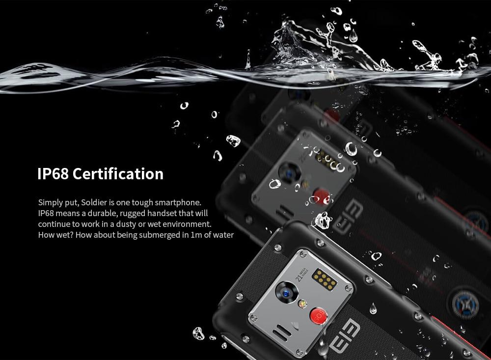 Elephone Soldier 4G Phablet 5.5 inch Android 8.0 MTK X25 4GB RAM 128GB ROM 21.0MP Rear Camera IP68 Waterproof 5000mAh Battery- Black