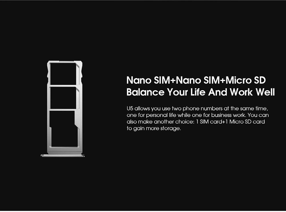 ELEPHONE U5 4G Smartphone Nano SIM + Nano SIM + Micro SD, Balance your life and work well