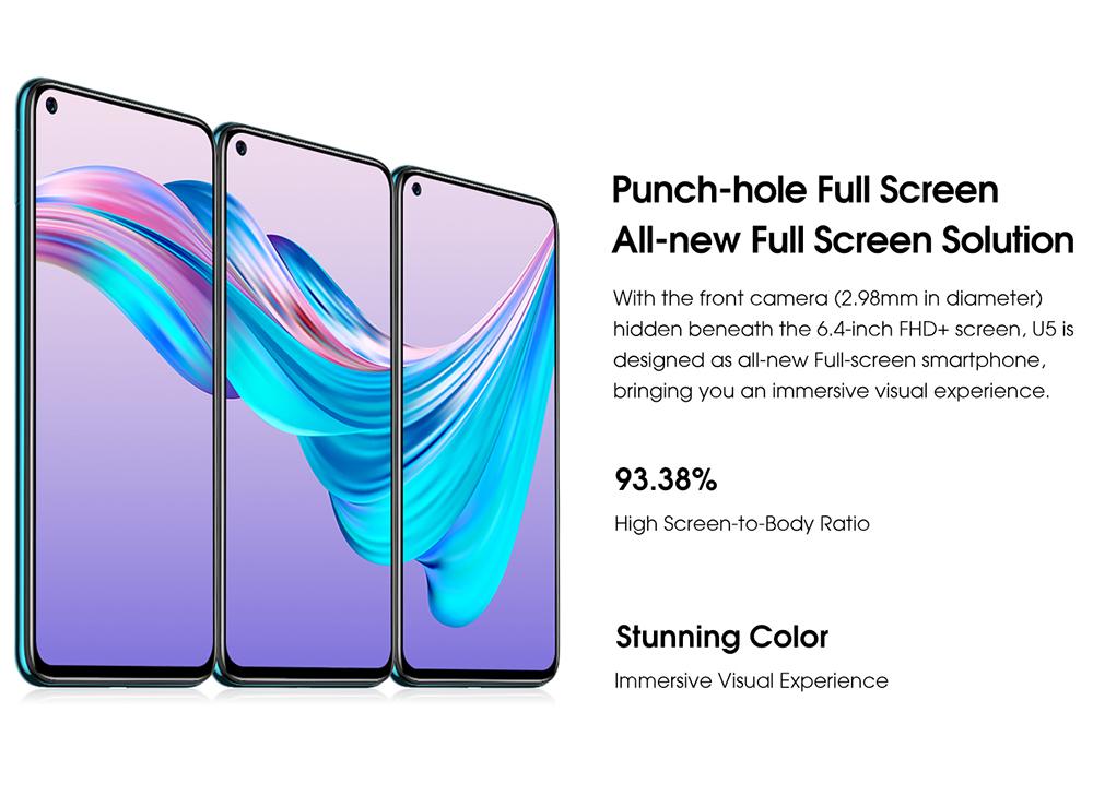 ELEPHONE U5 4G Smartphone Punch-hole Full screen, All-new Full Screen Solution