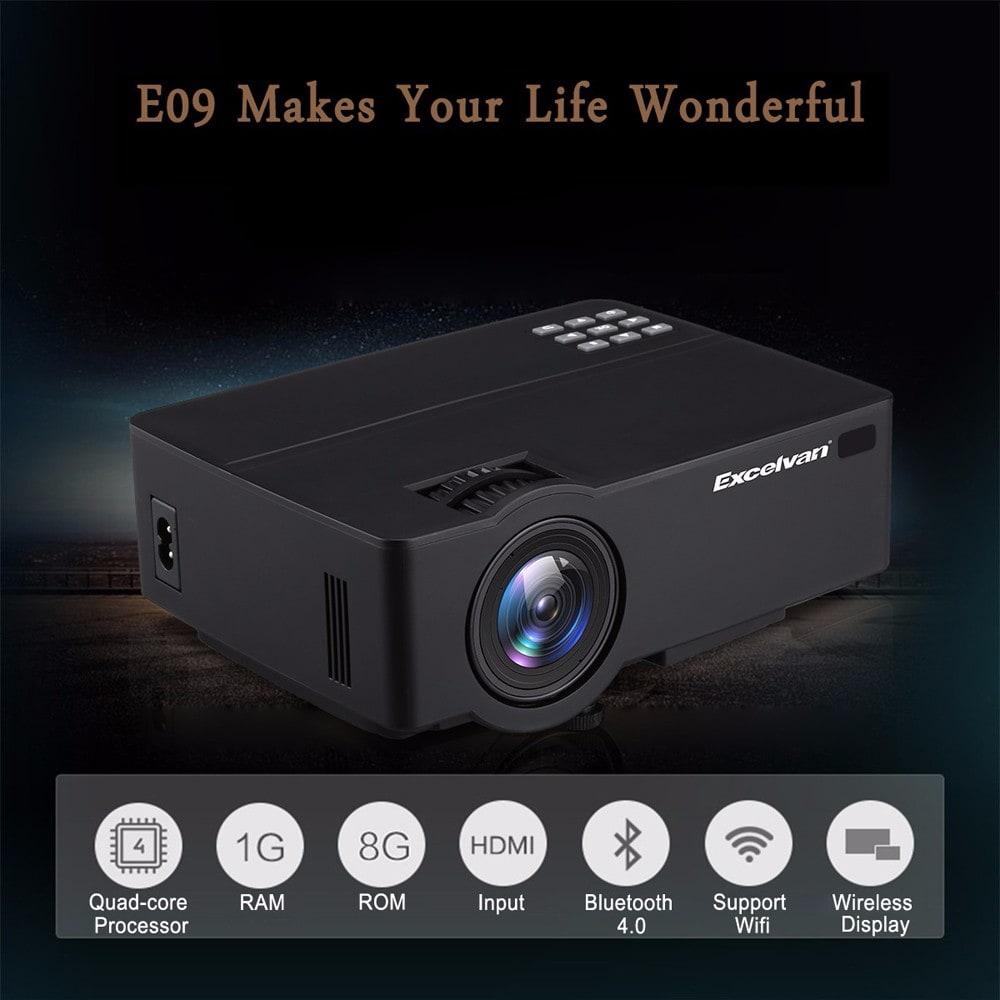 Excelvan E09 (E08S) Android 6.0.1 Verzió Multimédia Otthoni színházi projektor E09 1200 Lumen támogatás Full HD 1080P 4K videó HDMI / USB / AV / fejhallgató / VGA / TF kártya interfészekkel - Fekete EU