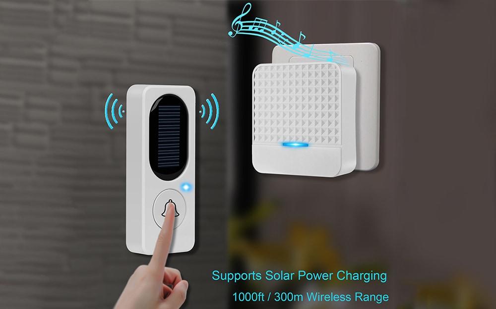 F9 Vízálló energiatakarékos vezeték nélküli napelemes csengő-fehér EU dugó